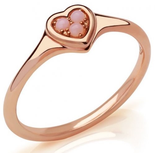 Links of London - Open Heart, Opal Set, Rose Gold Plated - Sterling Silver - Ring, Size L