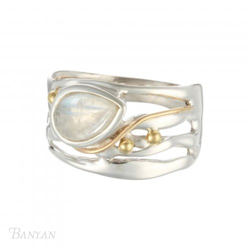 Banyan - Moonstone Set, Sterling Silver, Gold Filled and Brass Detail Ring, Size P