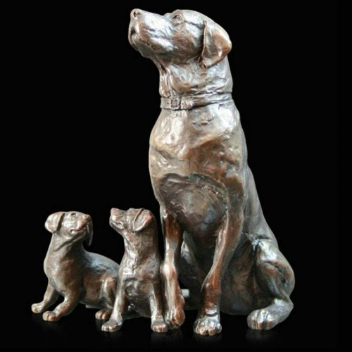 Richard Cooper - Bronze Labrador with Puppies Ornament, Size 10cm