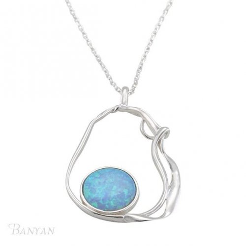 Banyan - Blue Opalite Set, Sterling Silver Organic Pendant and Chain, Size 18