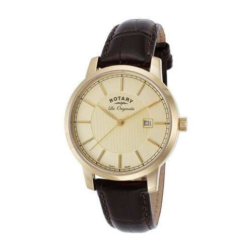 Rotary - Men's Gold Plated Les Orignales Brown Leather Strap Watch