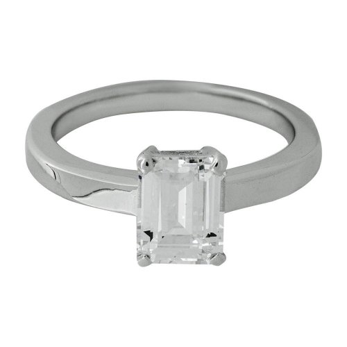 Jools - Cubic Zirconia Set, Silver Single Stone Ring, Size Q