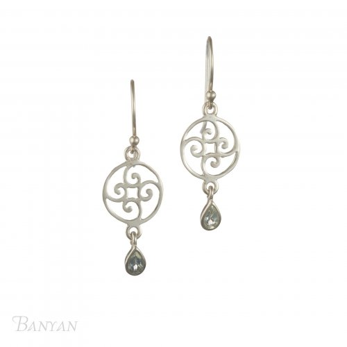 Banyan - Blue Topaz Set, Sterling Silver Circles and Swirls Earrings