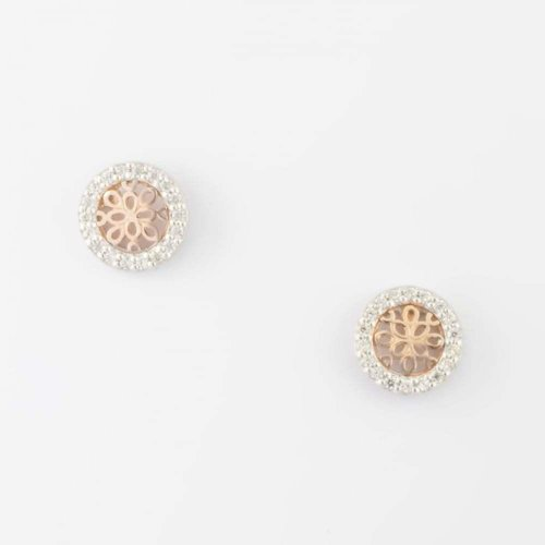 Virtue - Cubic Zirconia Set, Sterling Silver and Rose Gold Plate Circle Stud Earrings