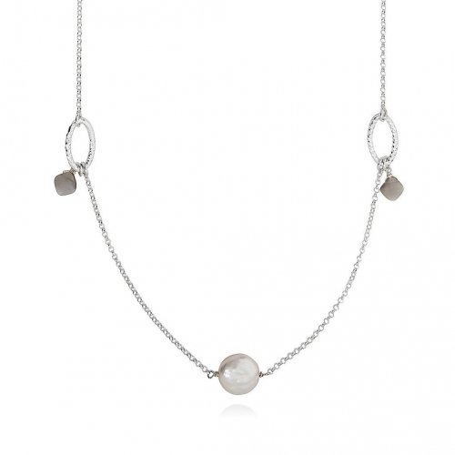 Claudia Bradby - Signature, Moonstone Set, Silver Necklace, Size 100cm