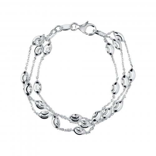 Links of London - Essential, Sterling Silver 3 Row Bracelet, Size L