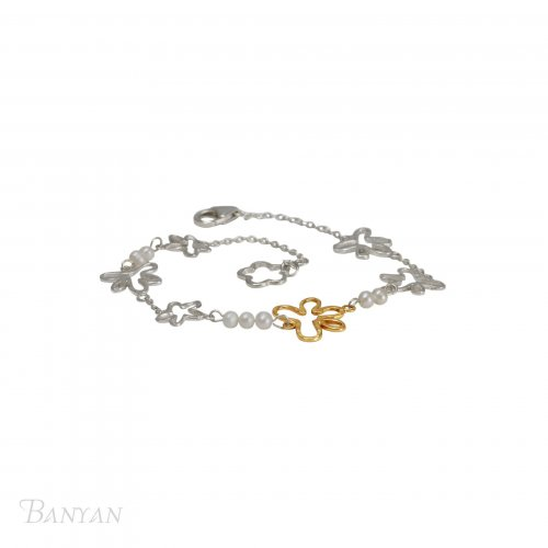 Banyan - Pearl Set, Silver and Gold Plated Bracelet