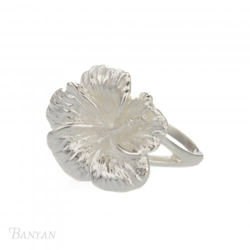 Banyan - Sterling Silver Textured Flower Ring, Size M