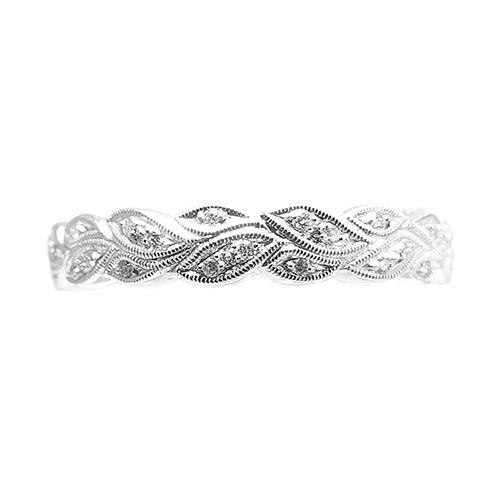 18ct White Gold & Diamond Floral Band