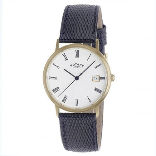Rotary - 9ct Yellow Gold Black Strap Watch