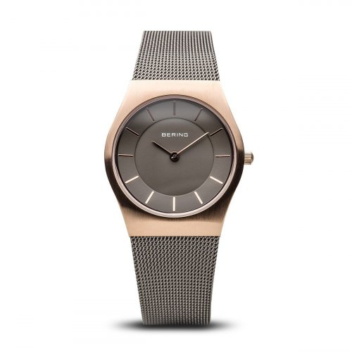 Bering - Classic Ladies, Rose Gold Plated and Stainless Steel Mesh Bracelet Watch