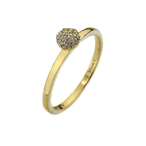 Virtue - Wishes Gold, Cubic Zirconia Set, Yellow Gold Plated Ring, Size P