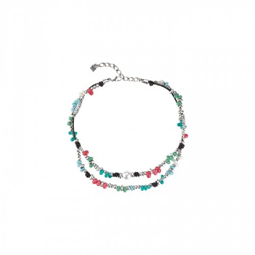 Uno de 50 - Coral, Beads, Pearl Set, Sterling Silver Plated Necklace