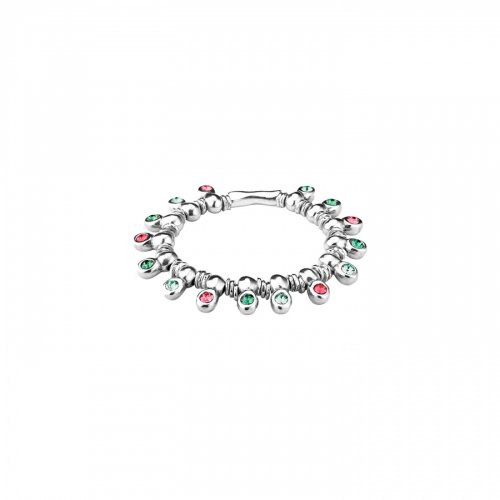 Uno de 50 - Jungle Love, Pink and Green Crystals Set, Silver Plated Alloy and Leather Bracelet