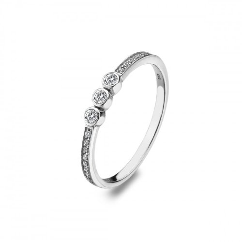 Virtue - Trinity, Cubic Zirconia Set, Sterling Silver Ring, Size P