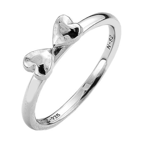 Virtue - Two Hearts, Sterling Silver Ring, Size N