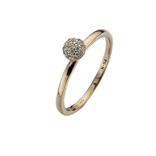 Virtue - Wishes Gold, Cubic Zirconia Set, Yellow Gold Plated Ring, Size J