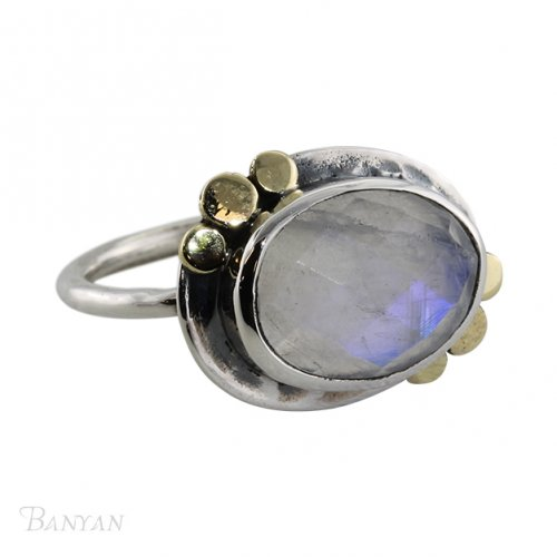 Banyan - Ladies , Faceted Moonstone Set, Sterling Silver Ring, Size N