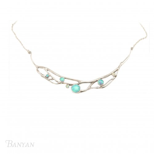 Banyan - Large, Organic Blue and White Opalite Necklace