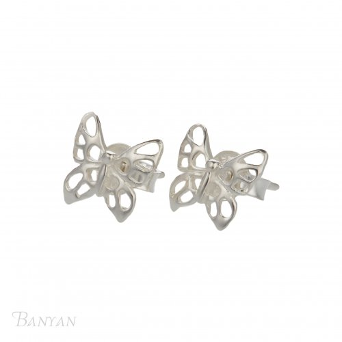 Banyan - Sterling Silver Butterfly Stud, Earrings