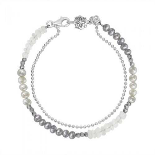 Dower and Hall - Orissa, Pearl Moonstone Set, Sterling Silver - - Bead Bracelet