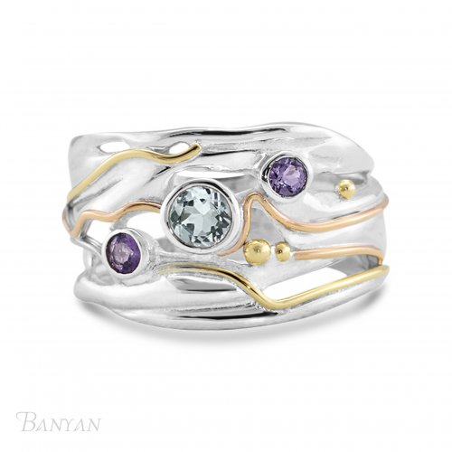 Banyan - Ladies , Blue Topaz, Amethyst and Lolite Set, Sterling Silver Ring, Size P