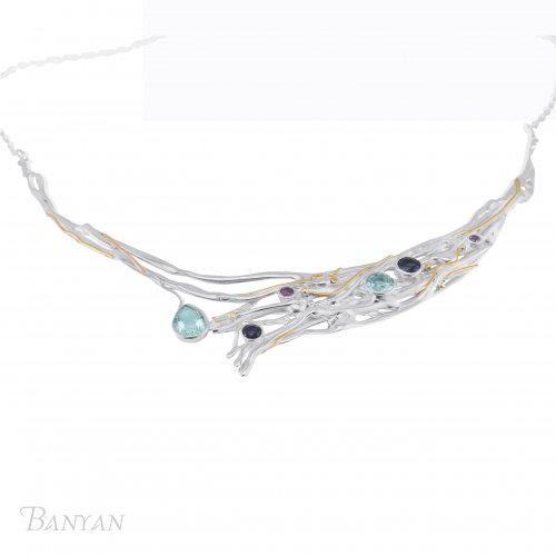 Banyan - Ladies , Blue Topaz, Purple Amethyst and Lolite Set, Sterling Silver Necklace