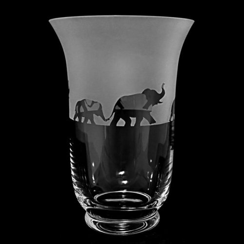 Animo Glass - Elephant, Frosted Glass Flared Vase, Size 23.5 cm