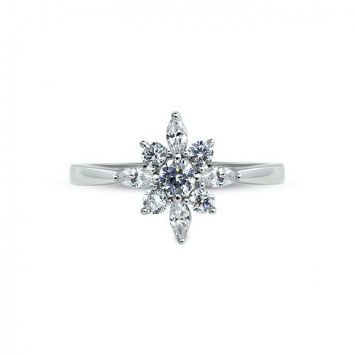 Carat London - Ladies Camelia, Round Brilliant Set, Cz Silver Snow Flower Ring, Size L