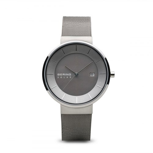 Bering - Solar, Stainless Steel Grey with Mesh Strap