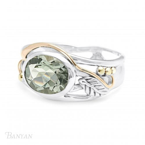 Banyan - Green Am Set, Sterling Silver - Leaf Ring, Size P