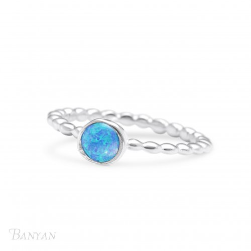 Banyan - Opalite Set, Sterling Silver - Bubble Band Ring, Size N