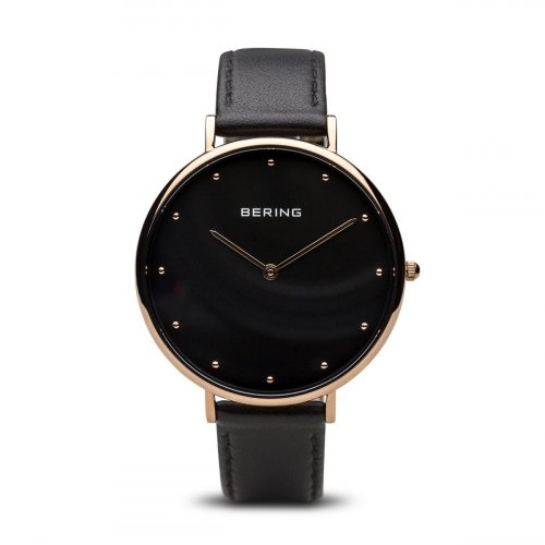Bering - Ladies Classic, Stainless Steel With Rose Gold Plating, Black Leather Strap Watch