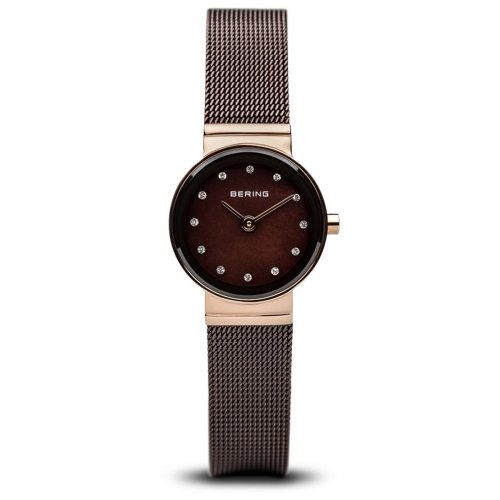 Bering - Ladies Classic, Swarovski Crystal and Black Mother of Pearl Set, Rose Gold Plated Watch