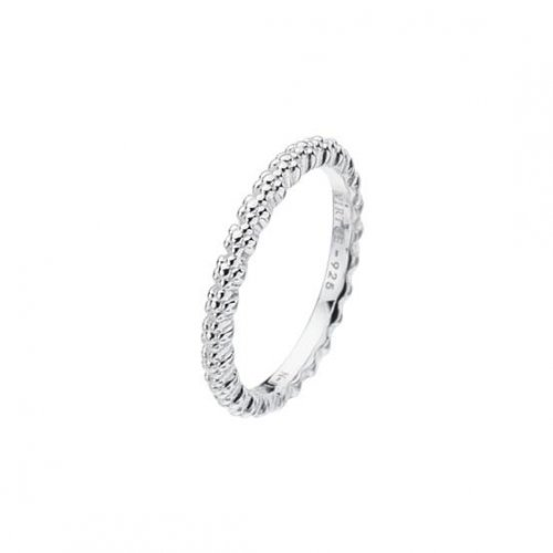Virtue - Sterling Silver Plain Flower Shank Band Ring