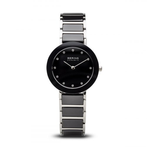 Bering - Ladies Ceramic, Ceramic and Stainless Steel, Silver and Black Watch