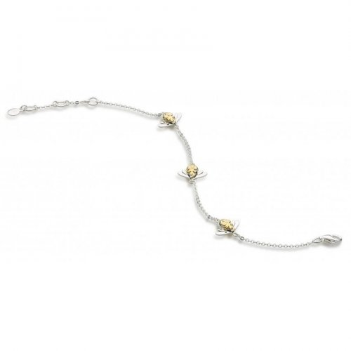 Kit Heath - Blossom, Sterling Silver with Gold Plated Triple Bumblebee Bracelet