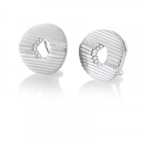 Breuning - White Sapphire Set, Sterling Silver Brushed Stud Earrings