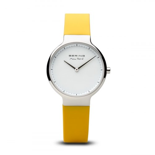 Bering - Max Rene, Ladies Stainless Steel and Silicone Yellow Interchangeable Strap Watch