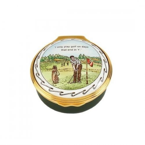 Halcyon Days - Golf, Enamel Pill Box