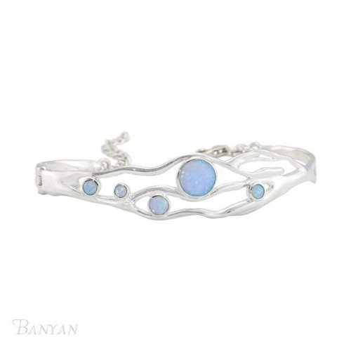 Banyan -Silver Bangle Dotted with Opalites