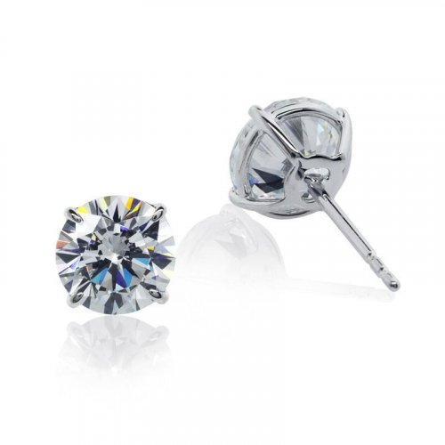 Carat London - Cubic Zirconia Set, 9ct White Gold Brilliant 4 Prong Stud Earring, Size 0.5ct