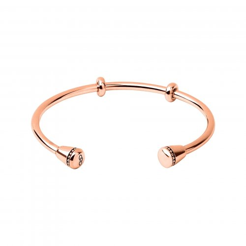 Links of London - Amulet, Sterling Silver with Rose Gold Plated Bangle, Size Large