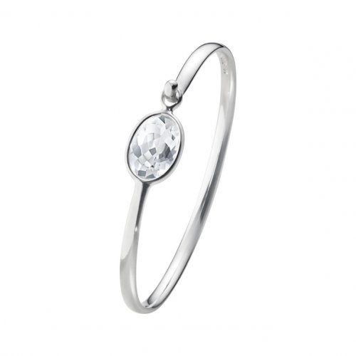 Georg Jensen - Savannah Bangle, Sterling Silver with Rock Crystal