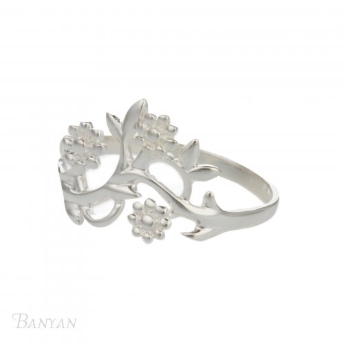 Banyan - Sterling Silver Flowering Branch Ring, Size M
