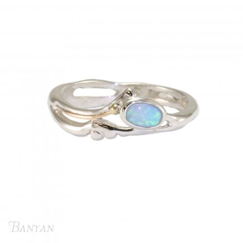Banyan - Opalite Set, Sterling Silver Gold Fill Detail Ring, Size P