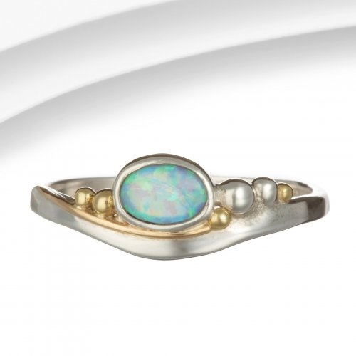 Banyan - Opalite Set, Sterling Silver With GoldFilled Detail Ring, Size N