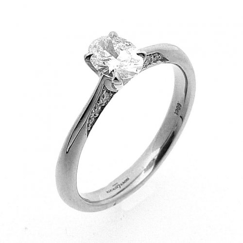 B and N - 0.84ct. Diamond Set, Platinum Ring