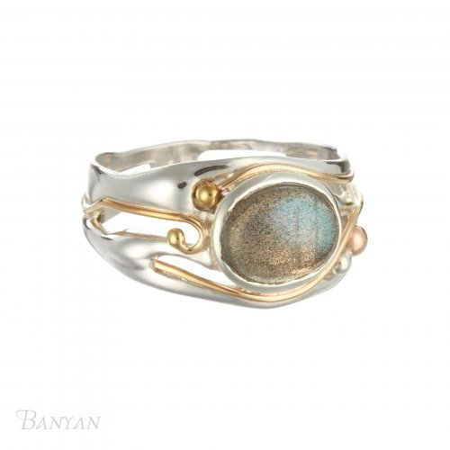 Banyan - Labradorite Set, Sterling Silver, Gold Filled Detail Ring, Size R