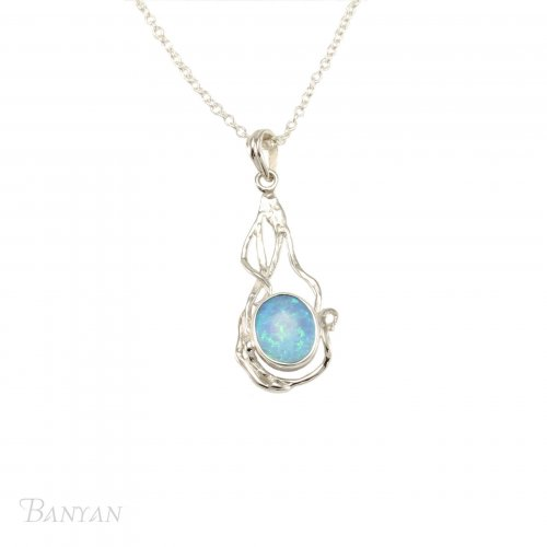 Banyan - Opalite Set, Sterling Silver Necklace
